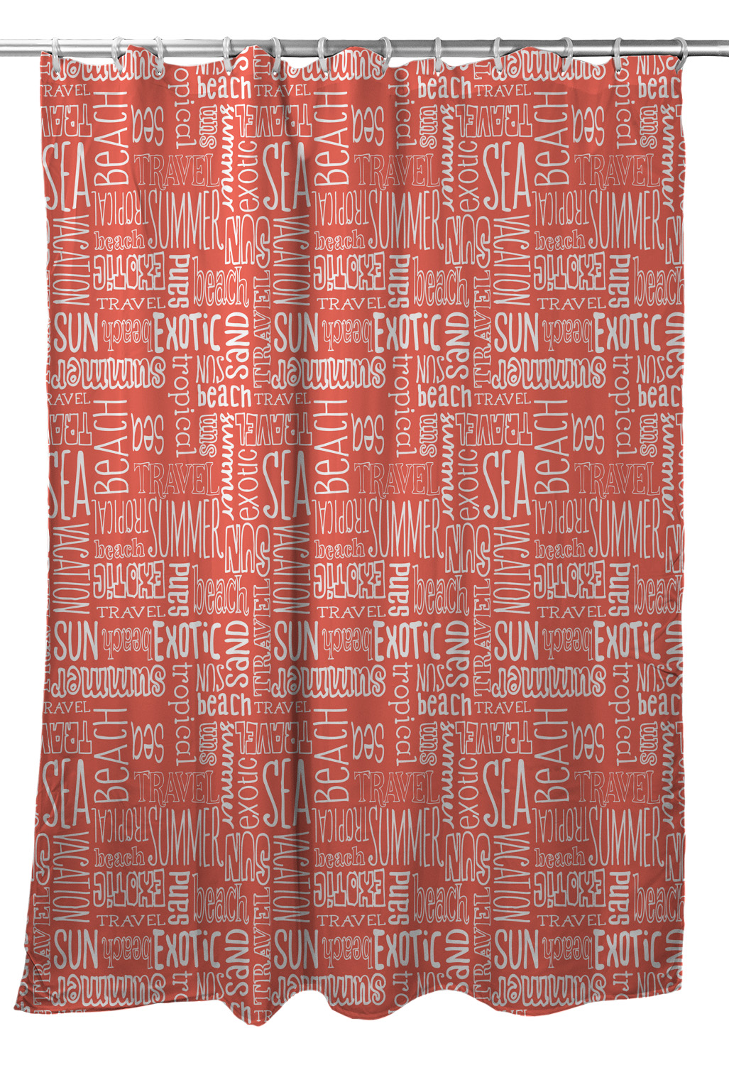 Beach Vacation Words Coral Shower Curtain