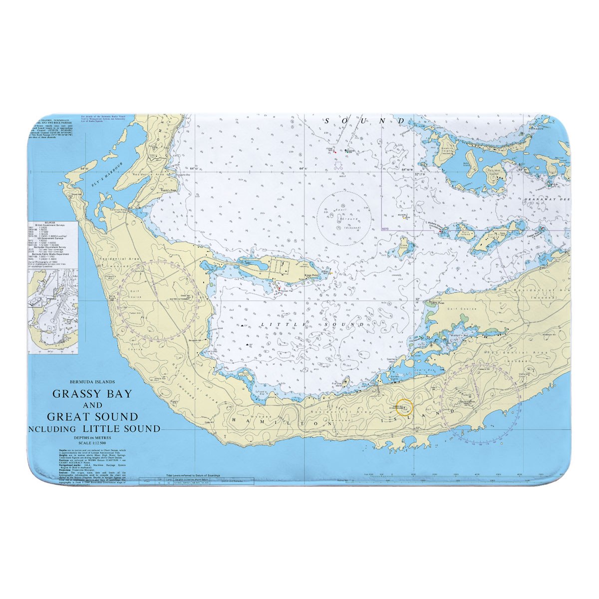 Little Sound Bermuda Nautical Chart Memory Foam Bath Mat