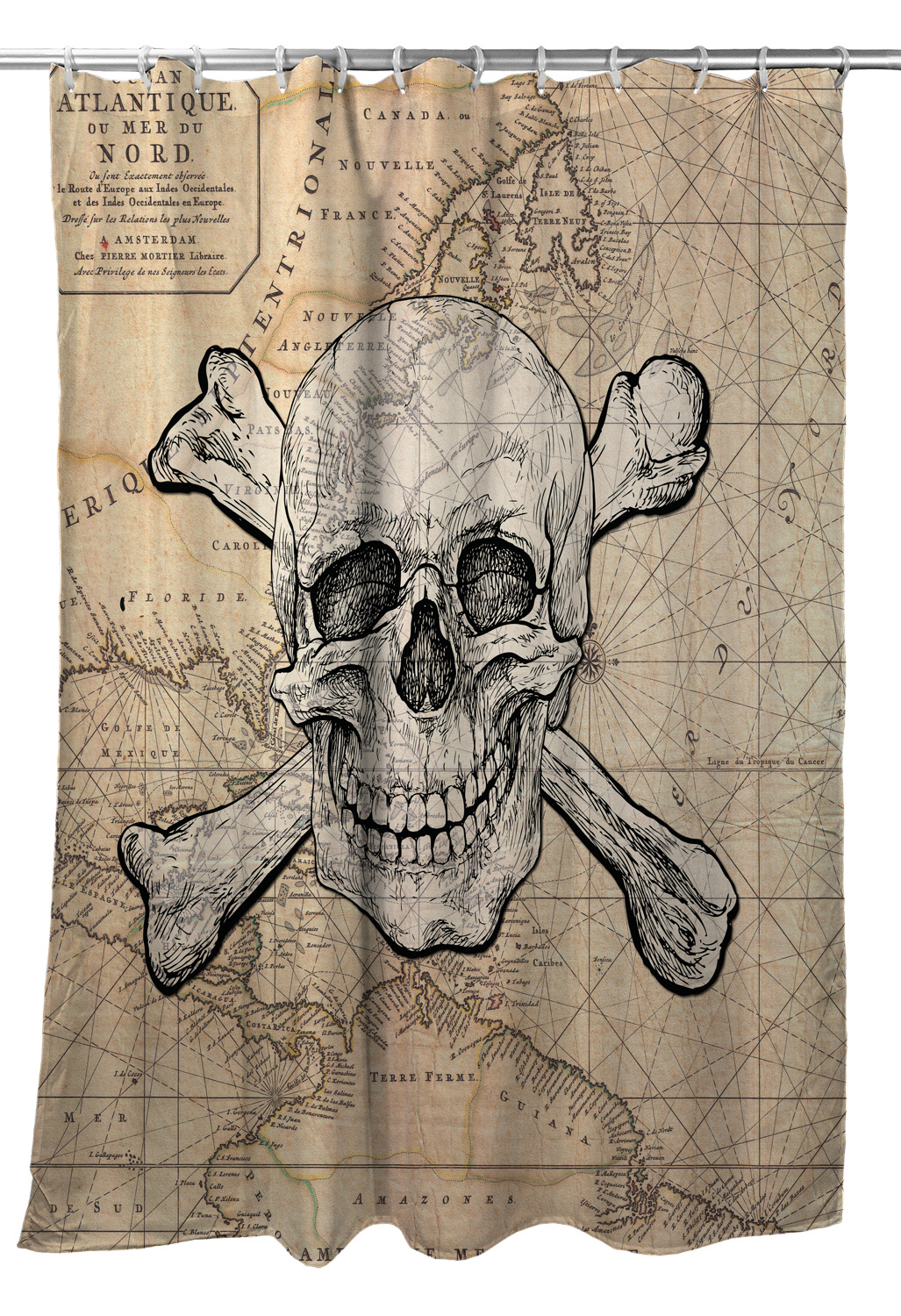 Skull Crossbones Old World Nautical Chart Shower Curtain