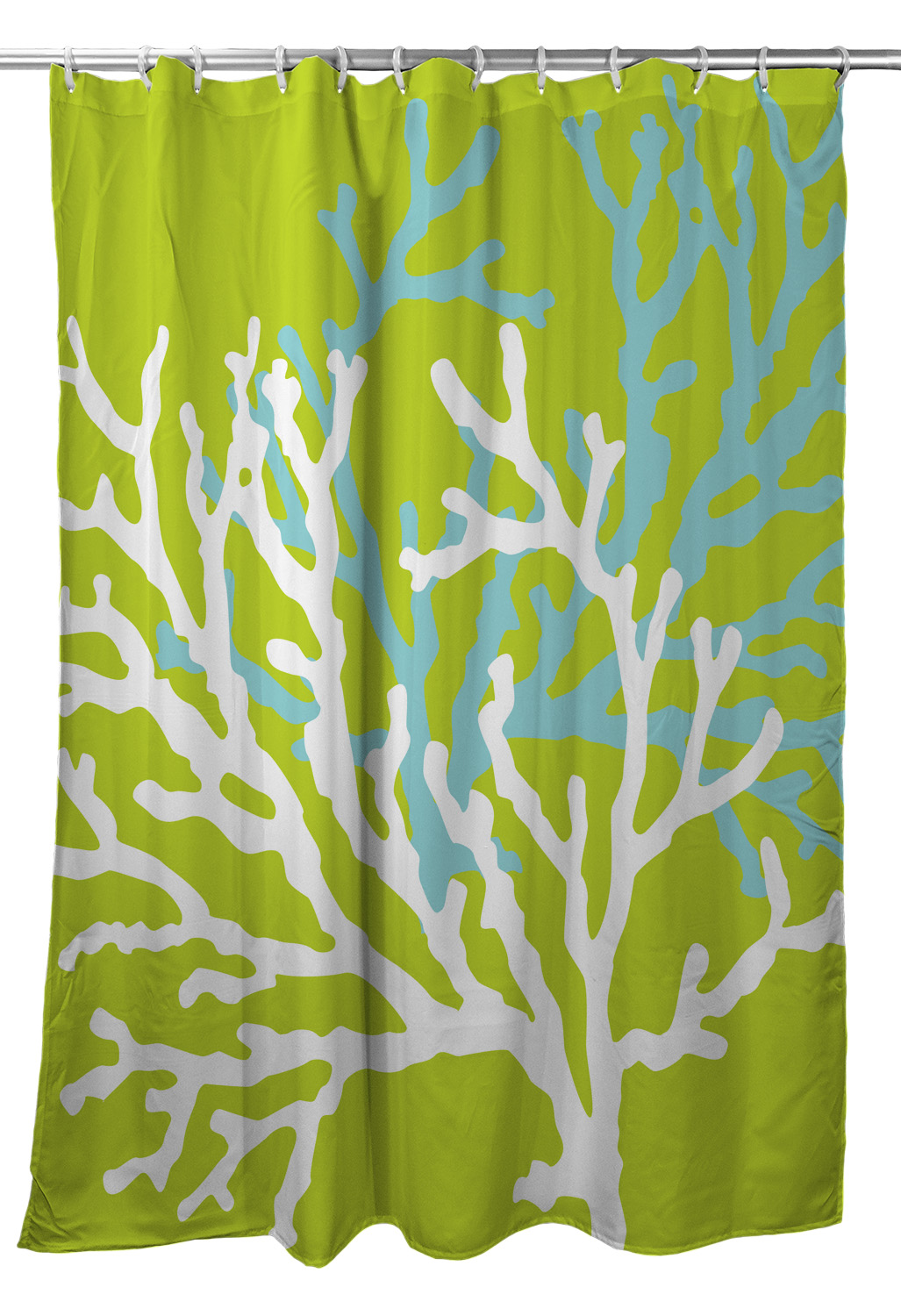 Coral Duo On Lime Shower Curtain