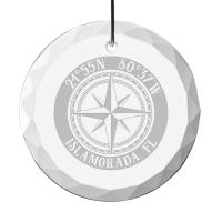 "Custom Compass Rose 3.5"" Glass Christmas Ornament"