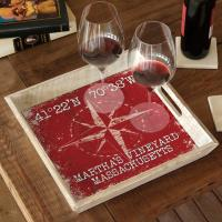 Custom Coordinates Compass Rose Serving Tray - Red
