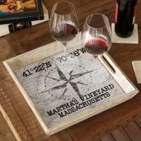 Custom Coordinates Compass Rose Serving Tray - White Vintage Chart