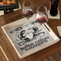 Custom Coordinates Crab Serving Tray - White Vintage Chart