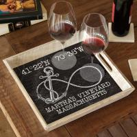 Custom Coordinates Infinity Anchor Serving Tray - Black Vintage Chart