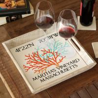 Custom Coordinates Coral Duo Serving Tray - White