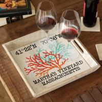 Custom Coordinates Coral Duo Serving Tray - White Distressed