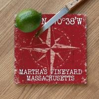Custom Coordinates Compass Rose Cutting Board - Red