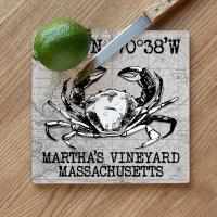 Custom Coordinates Crab Cutting Board - White Vintage Chart