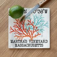 Custom Coordinates Coral Duo Cutting Board - White Distressed