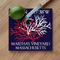 Custom Coordinates Coral Duo Cutting Board - Navy