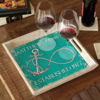 Custom Wedding Infinity Anchor Serving Tray - Aqua