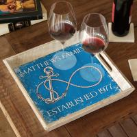 Custom Wedding Infinity Anchor Serving Tray - Blue