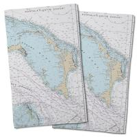BAHAMAS: Abaco, Bahamas Nautical Chart Hand Towel (Set of 2)