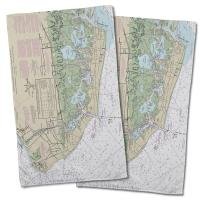 NJ: Wildwood, Cape May, NJ Nautical Chart Hand Towel (Set of 2)
