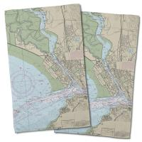 CA: Vallejo, CA Nautical Chart Hand Towel (Set of 2)