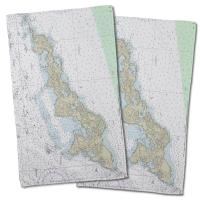 NY: Fishers Island, NY Nautical Chart Hand Towel (Set of 2)