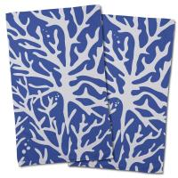 Sea Coral Hand Towel - Cobalt (Set of 2)
