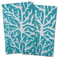 Sea Coral Hand Towel -  Light Turquoise (Set of 2)