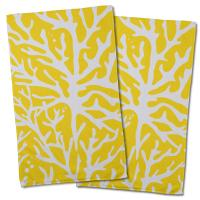 Sea Coral Hand Towel - Yellow (Set of 2)