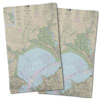 CA: San Pablo Bay, CA Nautical Chart Hand Towel (Set of 2)