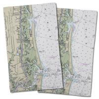 NC: Sunset Beach, NC Nautical Chart Hand Towel (Set of 2)