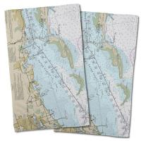 FL: Crystal Beach, Honeymoon Island, FL Nautical Chart Hand Towel (Set of 2)