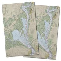 CA: Suisun Bay, CA Nautical Chart Hand Towel (Set of 2)