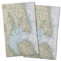MS: Bay St. Louis, Pass Christian, MS Nautical Chart Hand Towel (Set of 2)