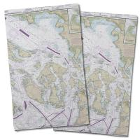WA: San Juan Islands, WA Nautical Chart Hand Towel (Set of 2)