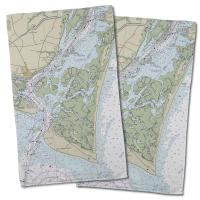 NC: Bald Head Island, NC Nautical Chart Hand Towel (Set of 2)