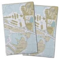 FL: Miami Harbor, FL Nautical Chart Hand Towel (Set of 2)
