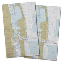 FL: Singer Island, Peanut Island, Lake Worth Inlet, FL Nautical Chart Hand Towel (Set of 2)