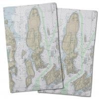 RI: Conanicut Island, RI Nautical Chart Hand Towel (Set of 2)