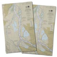 WA: Columbia River; Saint Helens, WA to Vancouver, OR Nautical Chart Hand Towel (Set of 2)