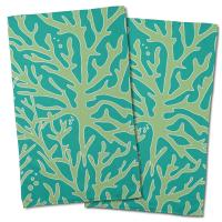 Sea Coral Hand Towel - Light Green, Aqua (Set of 2)