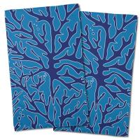 Sea Coral Hand Towel - Navy, Light Blue (Set of 2)