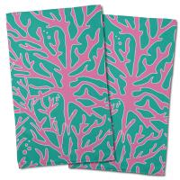 Sea Coral Hand Towel - Pink, Aqua (Set of 2)