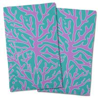 Sea Coral Hand Towel - Purple, Turquoise (Set of 2)