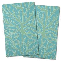 Sea Coral Hand Towel - Light Green, Light Blue (Set of 2)