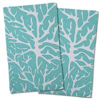 Sea Coral Hand Towel - White, Light Blue (Set of 2)