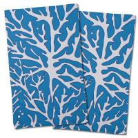 Sea Coral Hand Towel - White, Blue (Set of 2)