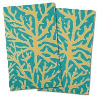 Sea Coral Hand Towel - Yellow, Aqua (Set of 2)