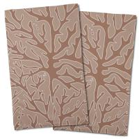 Sea Coral Hand Towel - Brown, Light Brown (Set of 2)