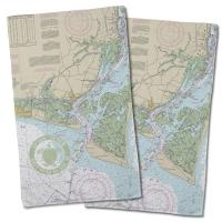 Bald Head Island, NC Chart & Logo Hand Towel (Set of 2)