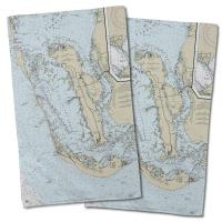 FL: Sanibel Island & Pine Island, FL Nautical Chart Hand Towel (Set of 2)