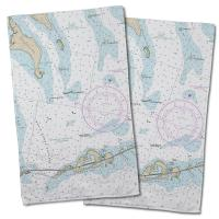 FL: Bahia Honda Key, FL Nautical Chart Hand Towel (Set of 2)