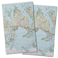 FL: Cudjoe Key, FL Nautical Chart Hand Towel (Set of 2)