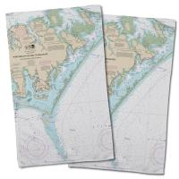 NC: Portsmouth Island to Beaufort, NC Nautical Chart Hand Towel (Set of 2)