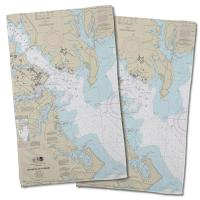 MD: Annapolis Harbor, MD Nautical Chart Hand Towel (Set of 2)
